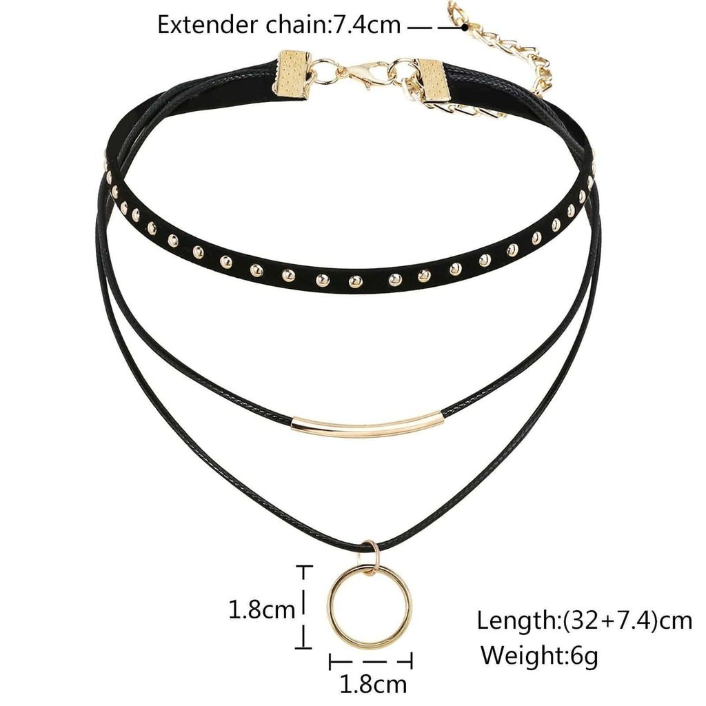 Chokers Jewelry Black Choker Collar Circle 3 Layers Black Rose Gold Velvet Leather Len 32+7.4CM - AnaDx