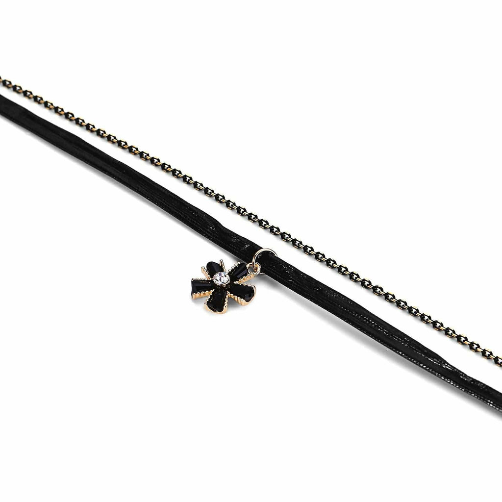 Chokers Beaded Multi Layer Choker Necklace Flower CZ Double Layers Cord Gold Black Len 35.5+6.8CM - AnaDx