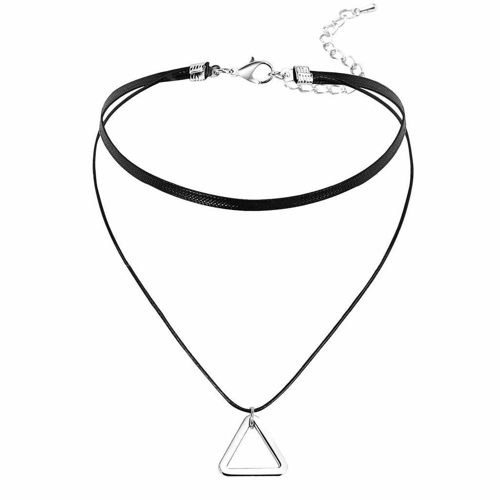 Chokers Black 90S Black Choker Necklace Hollow Triangle Cord Silver Black Len 32.5+8.5CM - AnaDx