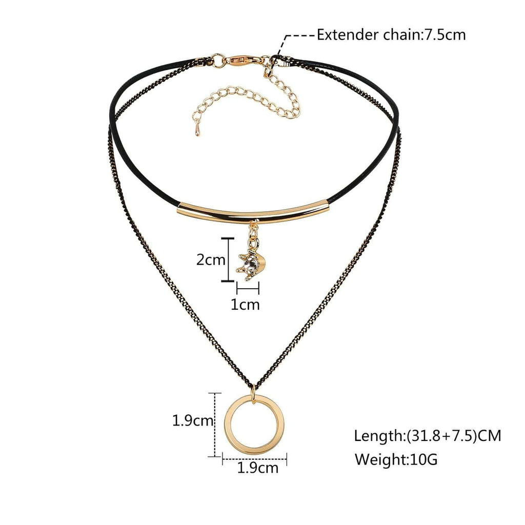 Black Choker Diy Black Choker With Pendant Round Crown Double Layers Cord Black Gold Len 31.8+7.5CM - AnaDx