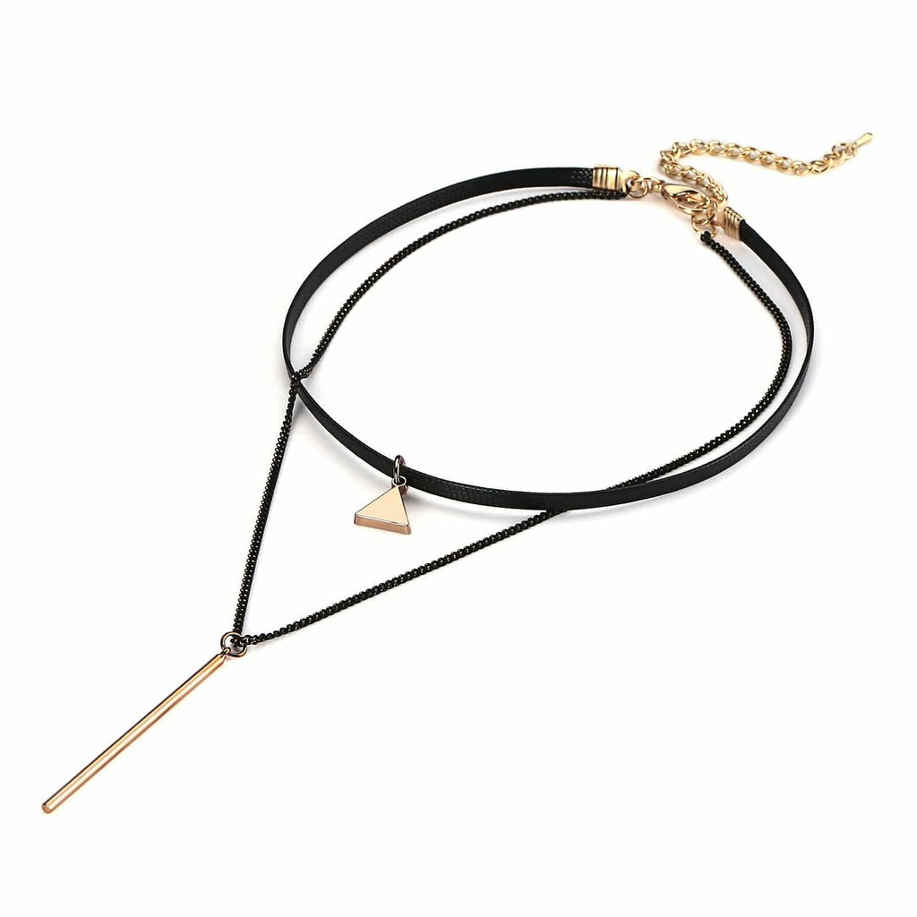 Black Choker 90S Double Layer Choker Necklace Triangle Cylinder Double Layers Cord Black Gold Len 32.7+7.7CM - AnaDx