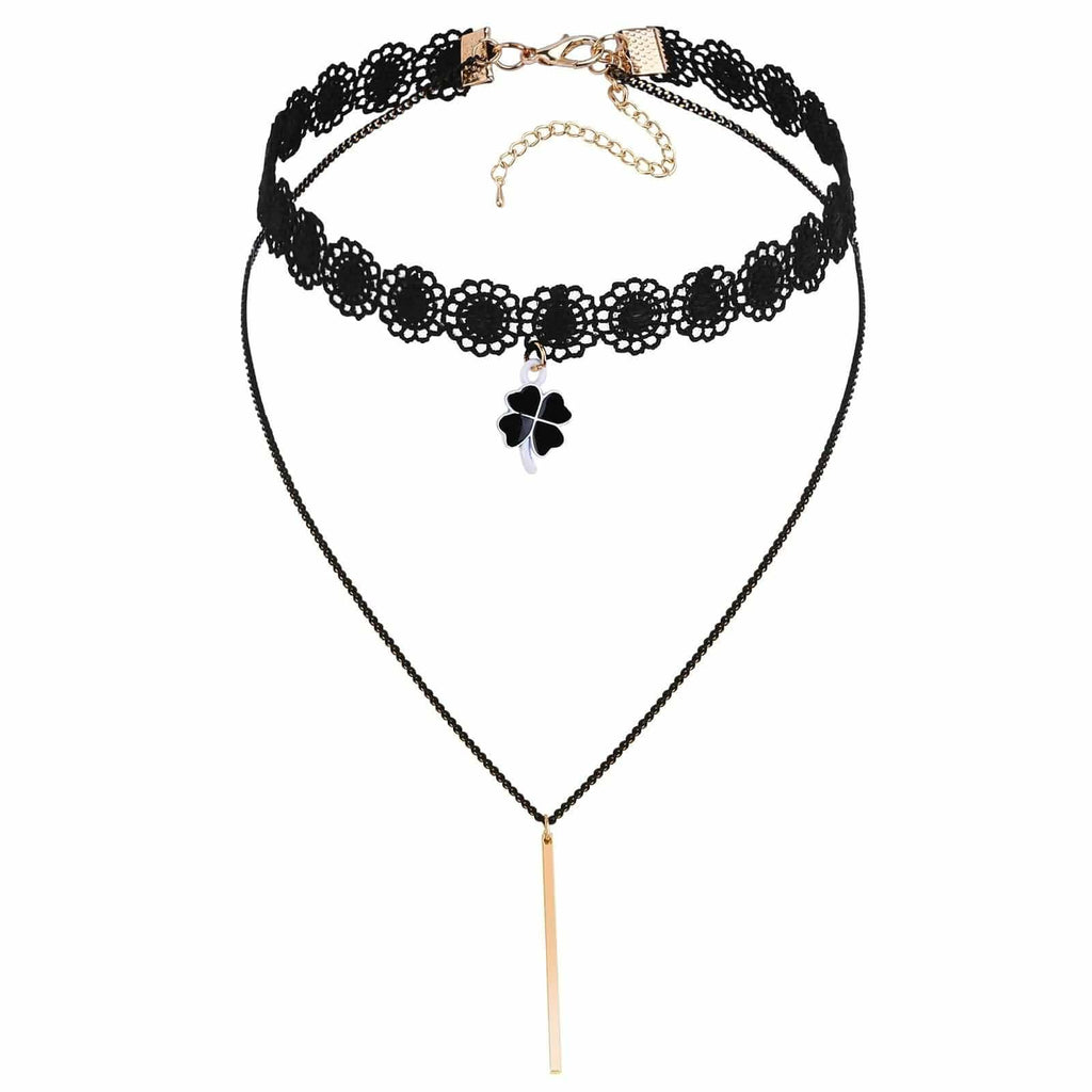 Choker for Girls Chokers and Charms Heart Leaf Rectangle Double Layers Black White Gold Len 31.2CM - AnaDx