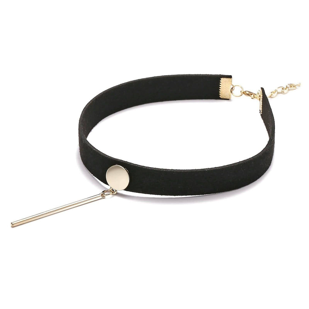 Chokers Chain Choker Necklace Leather Round Cylinder Gold Black Velvet Len 31+7.2CM - AnaDx