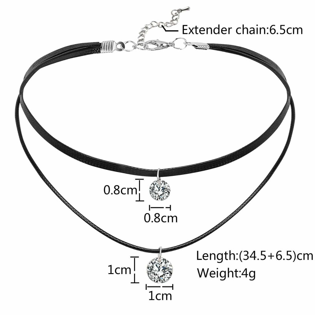 Choker for Girls Chokers and Charms Round Crystals Black Silver Rope Leather Double Layers 34.5+6.5CM - AnaDx