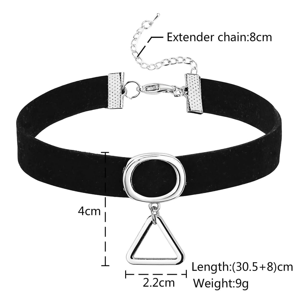 Choker Necklaces Black Choker Chain Round Hollow Triangle Silver Black Velvet Len 30.5+8CM - AnaDx