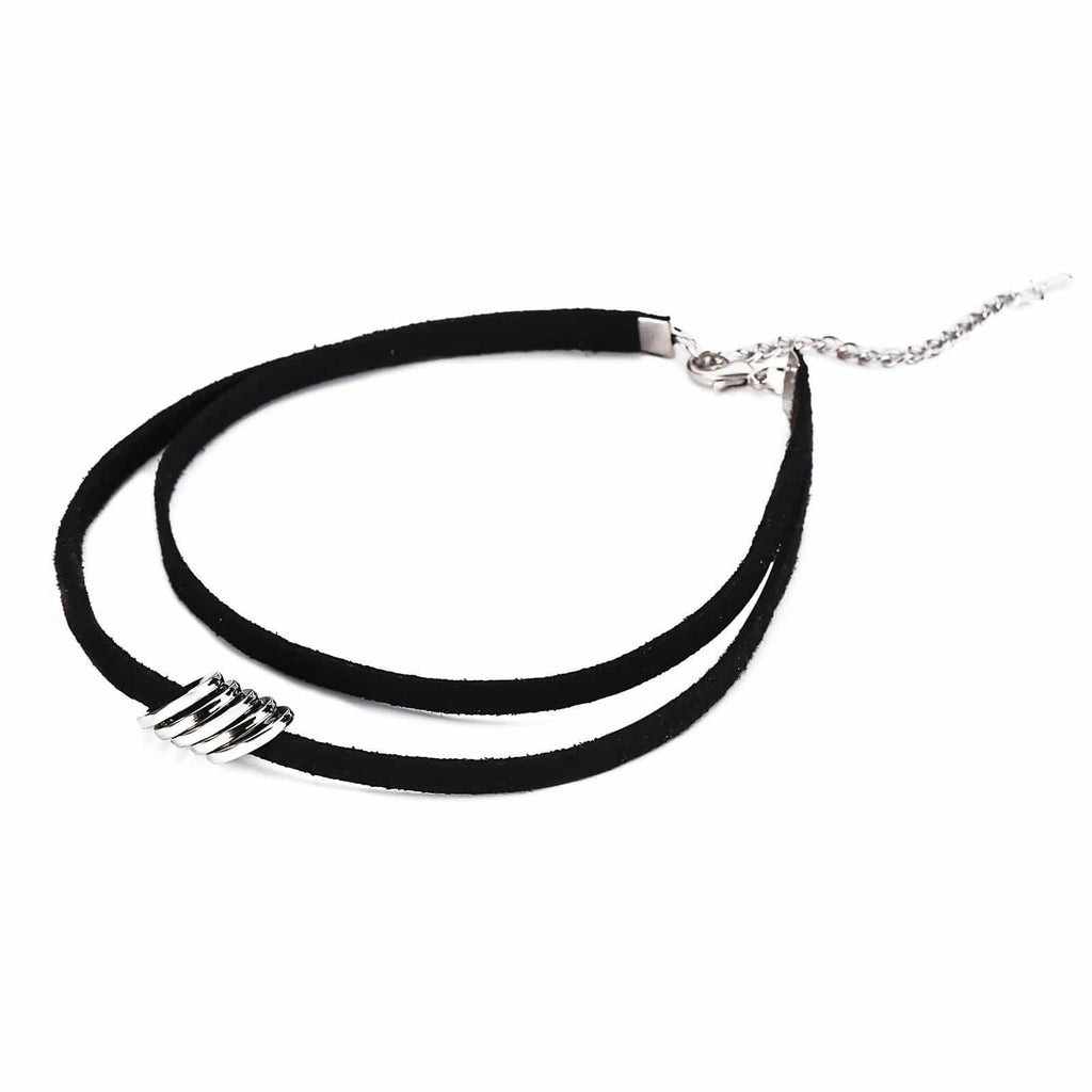 Chokers Necklaces Choker Necklace Leather Five Round Velvet Silver Black Len 31.5+8CM - AnaDx