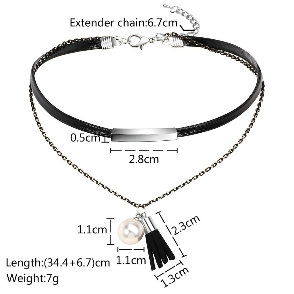 Chokers Cute Gold Layered Choker Pearl Tassel Black Silver Rope Leather Double Layers 34.4+6.7/2.3CM - AnaDx