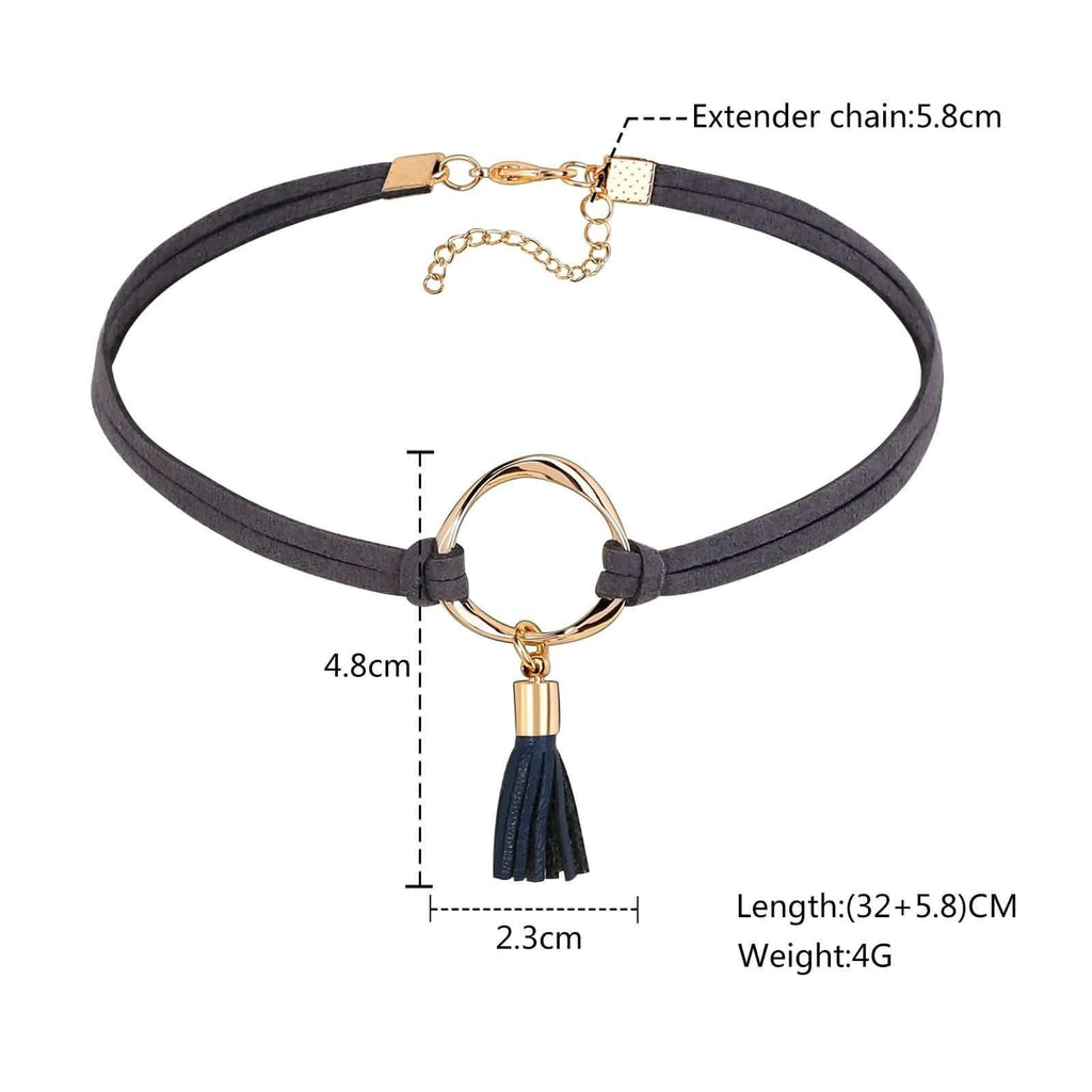 Chokers Leather Lucky Layer Choker Round Tassel Velvet Grey Gold Len 32CM - AnaDx
