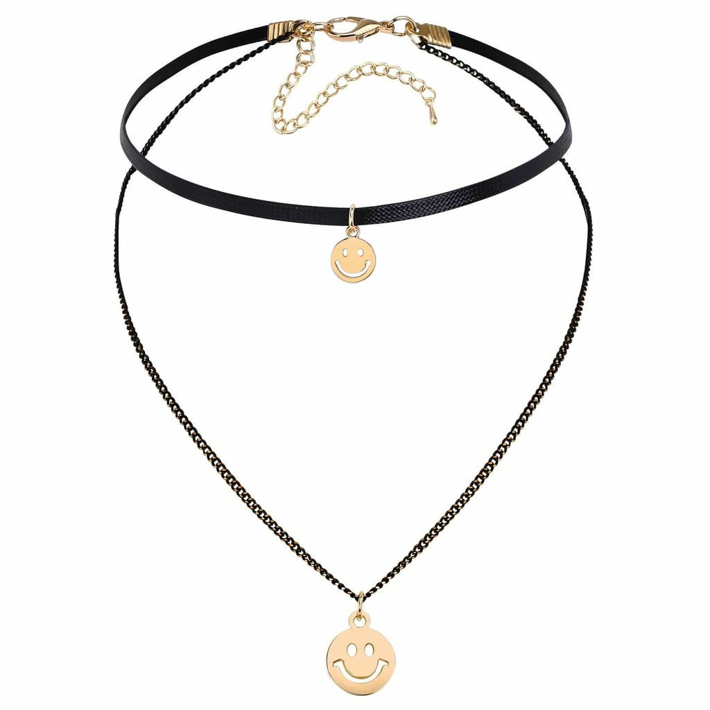 Chokers Jewelry Black Choker With Pendant 2 Smile Face Double Layers Cord Gold Black Len 32+8.5CM - AnaDx