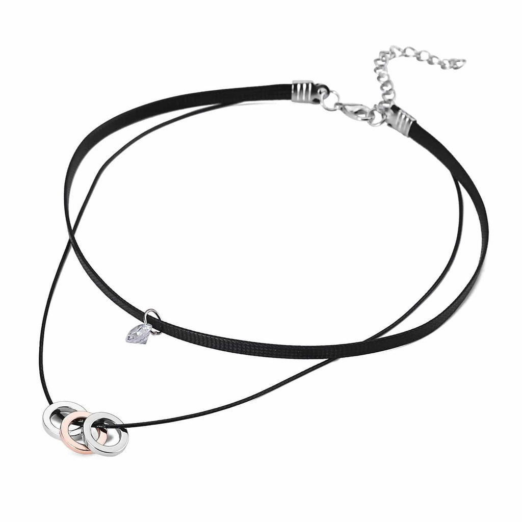 Womens Choker Top Choker Chain Necklace 3 Circle CZ Double Layers Cord Rose Gold Silver Len 34.5+5.8CM - AnaDx