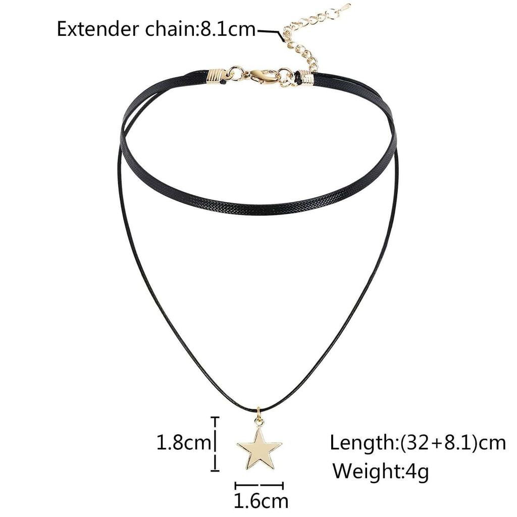 Chokers Leather Choker Necklace Chain Star Double Layers Cord Gold Black Len 32+8.1CM - AnaDx