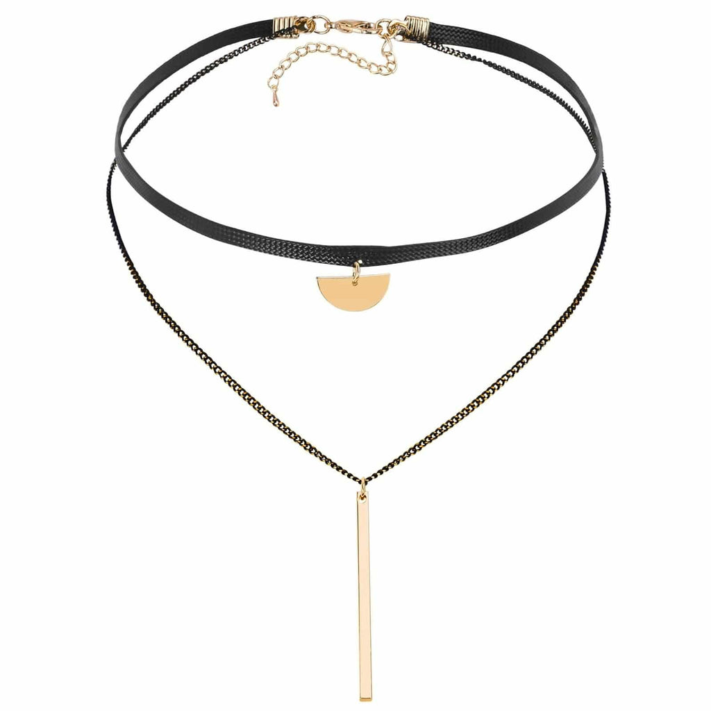 Black Choker 90S Double Layer Chain Choker Half Round Rectangle Cord Gold Black Len 33.7+6.2CM - AnaDx