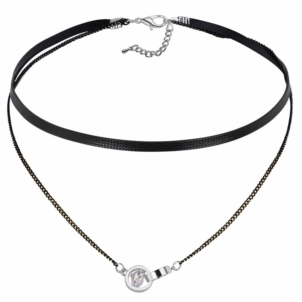 Chokers Chain Womens Jewellery Choker Necklace 2 Round CZ Cord Silver Black Len 33.5+6.3CM - AnaDx