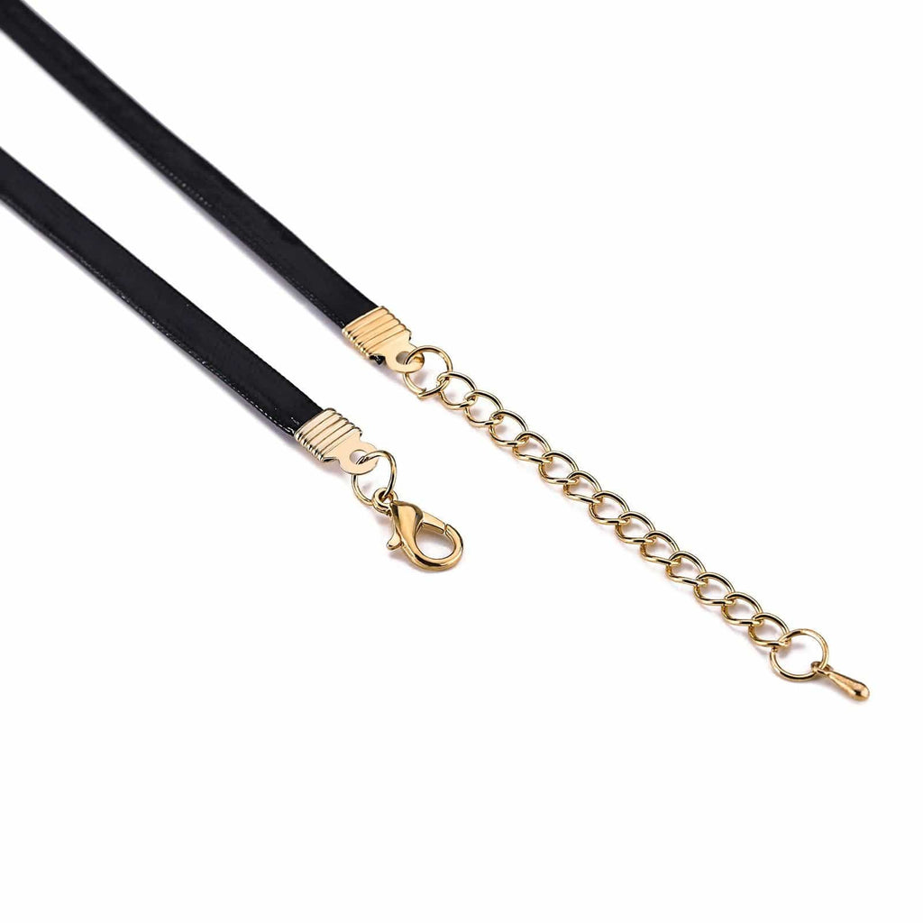 Chokers Leather Black Choker Collar Round CZ Cord Gold Black Len 34.5+6.3CM - AnaDx