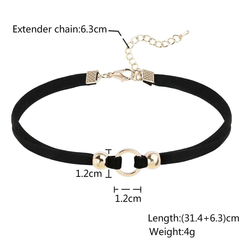 Chokers Necklaces Choker Chain Necklace Hollow Round Bead Velvet Gold Black Len 31.4+6.3CM - AnaDx