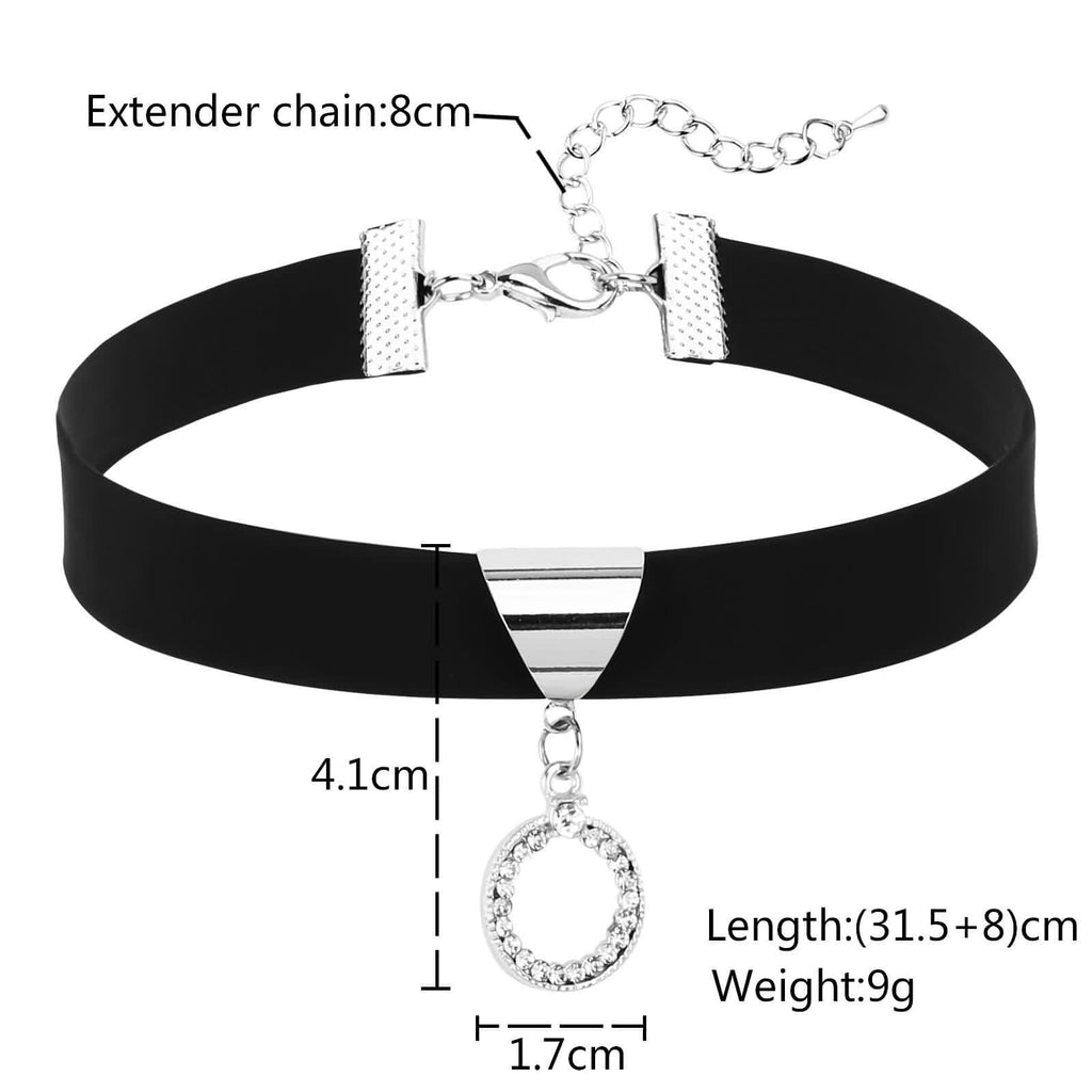 Chokers Chain Choker Necklace Leather Triangle Round CZ Leather Silver Black Len 31.5+8CM - AnaDx