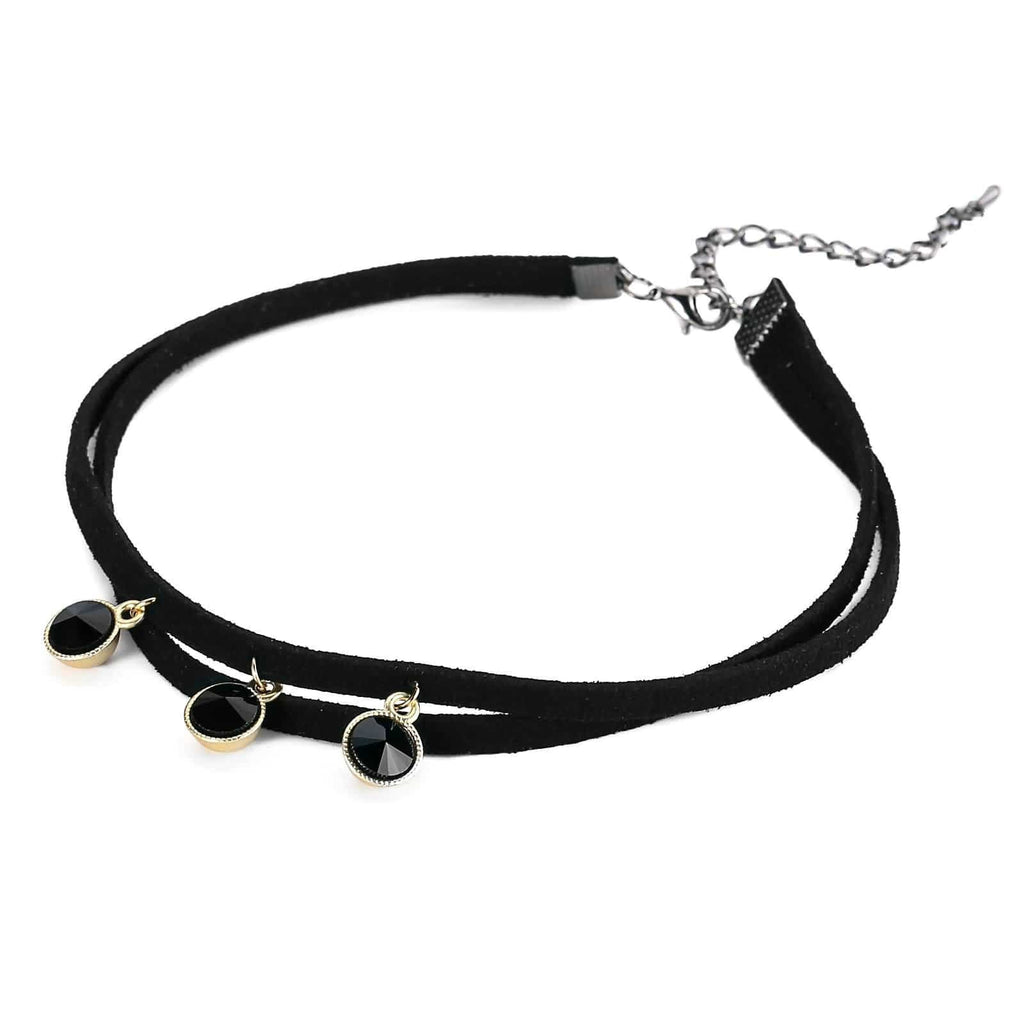 Chokers for Girls Choker Necklace Chain Multilayer 3 Round Crystal Gold Black Len 32.5+7.5CM - AnaDx