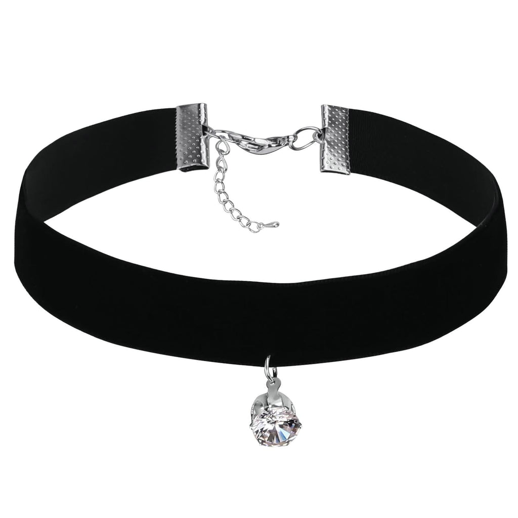 Choker Chain Lucky Layer Choker Retro Single Round Crystal CZ Silver Black Len 34+5.7CM - AnaDx