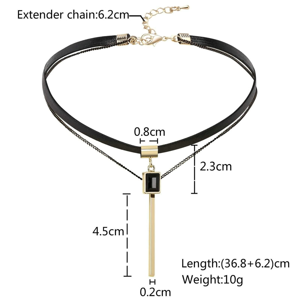 Womens Lace Choker Womens Choker Necklace Rectangle Crystal Black Gold Rope Leather Double Layers 36.8+6.2CM - AnaDx