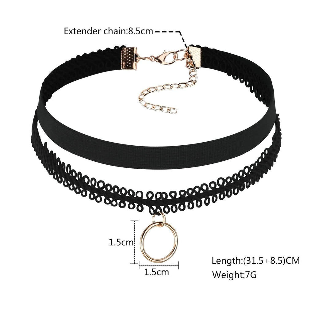 Black Choker 90S Double Layer Chain Choker Double Lace Single Ring Round Black Rose Gold Len 31.5+8.5CM - AnaDx