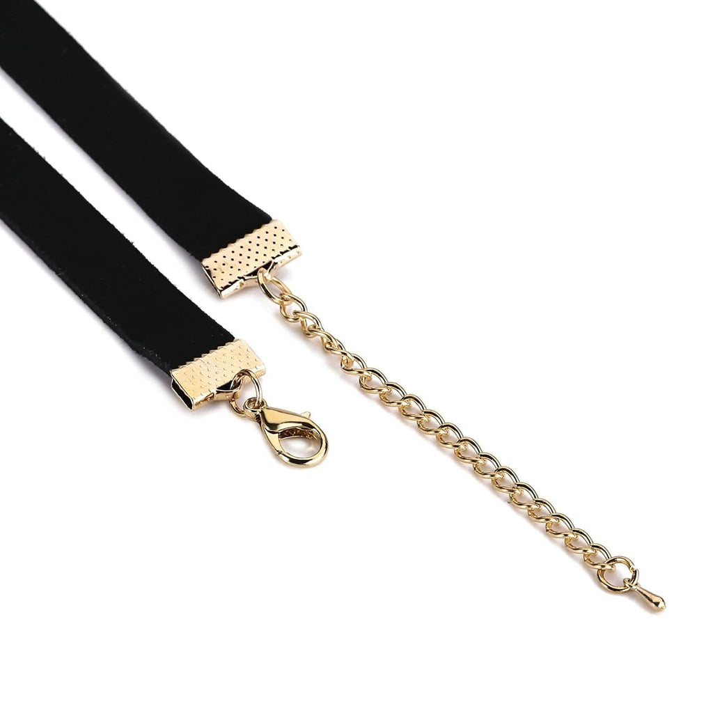 Choker Chain Multi Layer Choker Necklace Single Round Ring Gold Black Len 33+8.3CM - AnaDx
