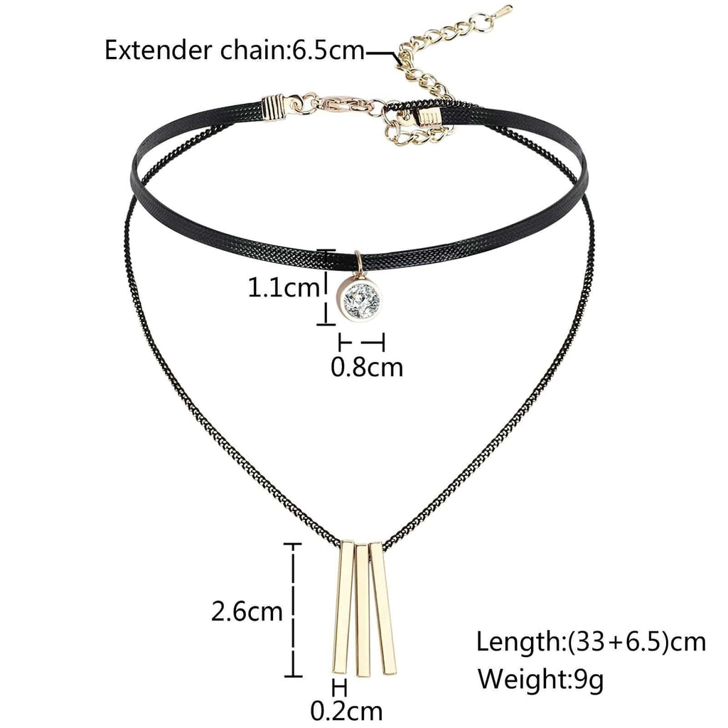 Chokers Leather Black Choker Collar Multilayer 3 Bar Single Round CZ Gold Black Len 33+6.5CM - AnaDx