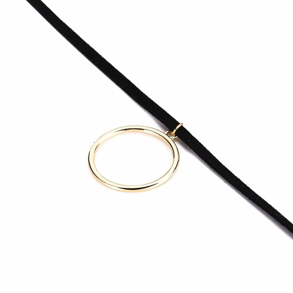 Chokers Jewelry Double Layer Choker Necklace Double Lines Single Round Circle Gold Black Len 31.5+8.5CM - AnaDx