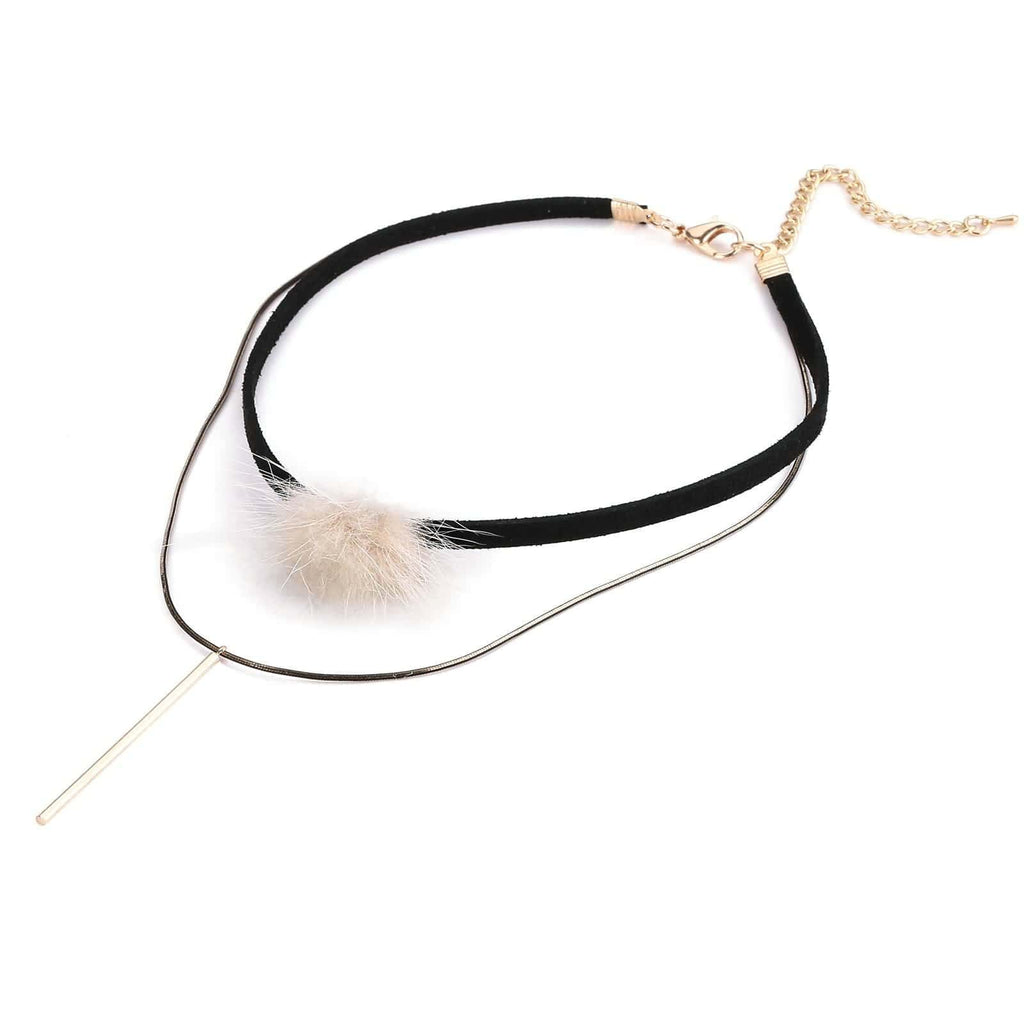 Chokers Jewelry Womens Choker Collar Multilayer Pom Pom Ball Bar Black Gold Len 32.7+8CM - AnaDx
