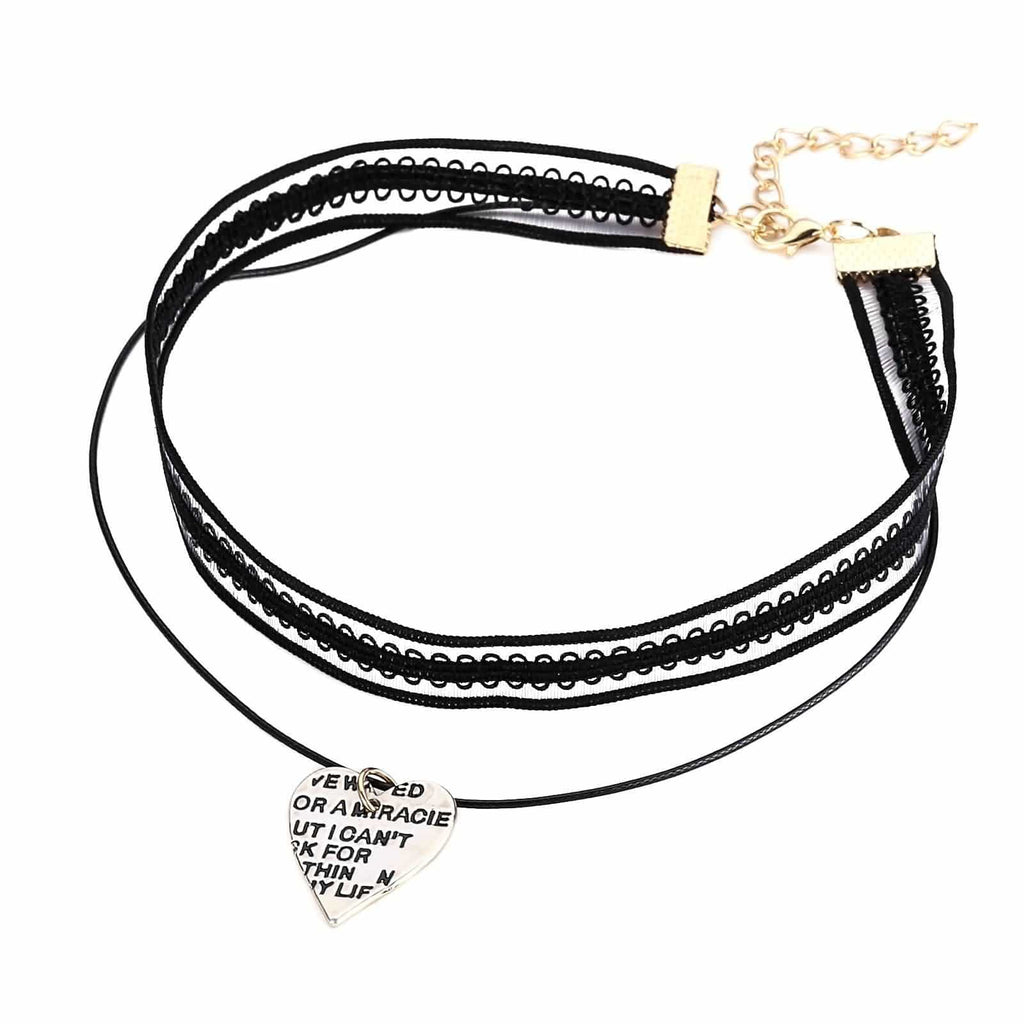 Chokers Beaded Black Choker Necklace Lace Heart Letter Engraved Gold Black Len 32+5.7CM - AnaDx