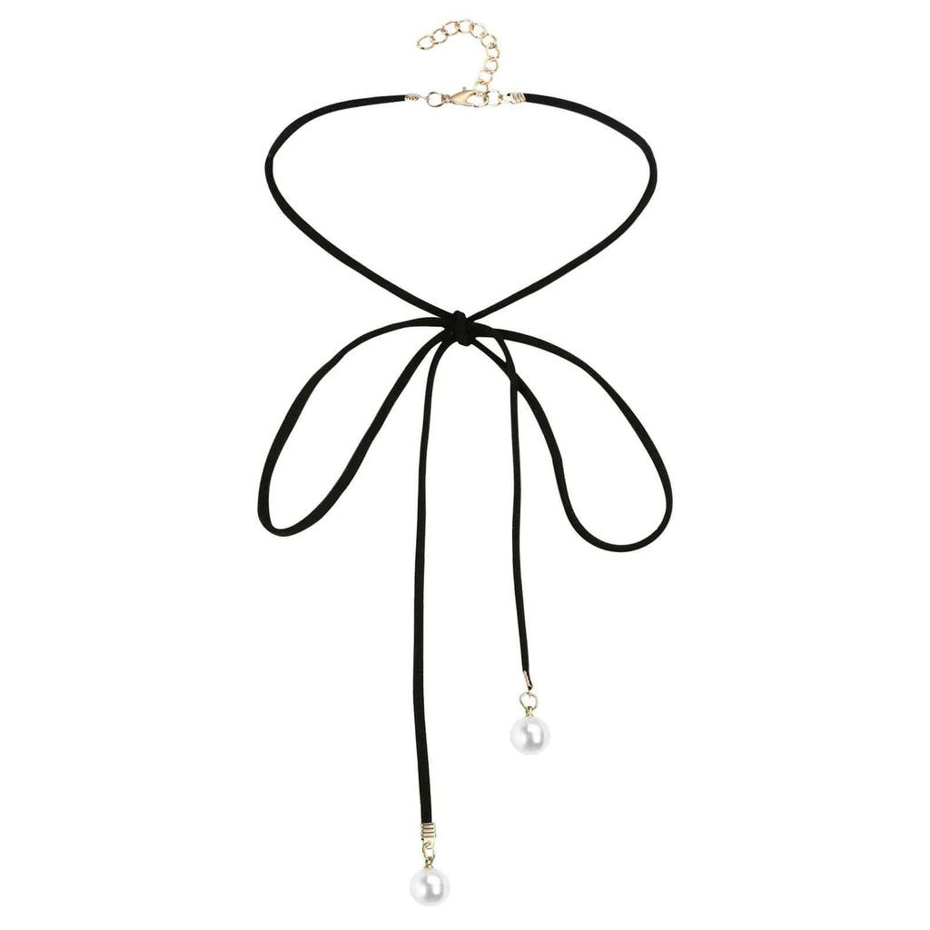 Chokers Chain Double Layer Chain Choker Velvet Bow Tie 2 Pearls Black White Len 108.5+4.5CM - AnaDx