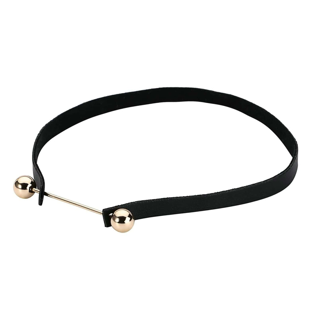 Chokers Jewelry 90S Black Choker Necklace Two Balls Bead Velet Gold Black Len 33.5CM - AnaDx