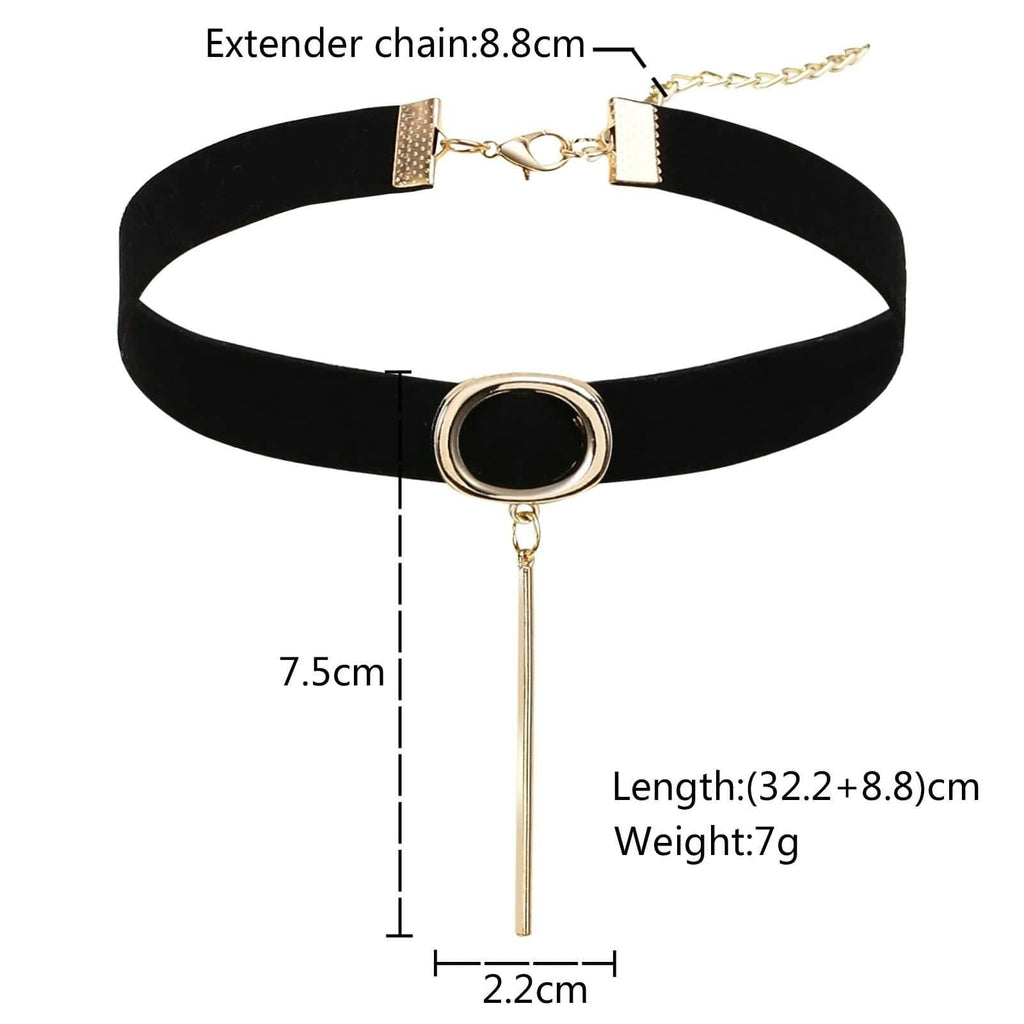 Choker Collar Womens Choker Necklace Wide Velvet Black Gold Oval Cylindrical 32.2/8.8CM - AnaDx