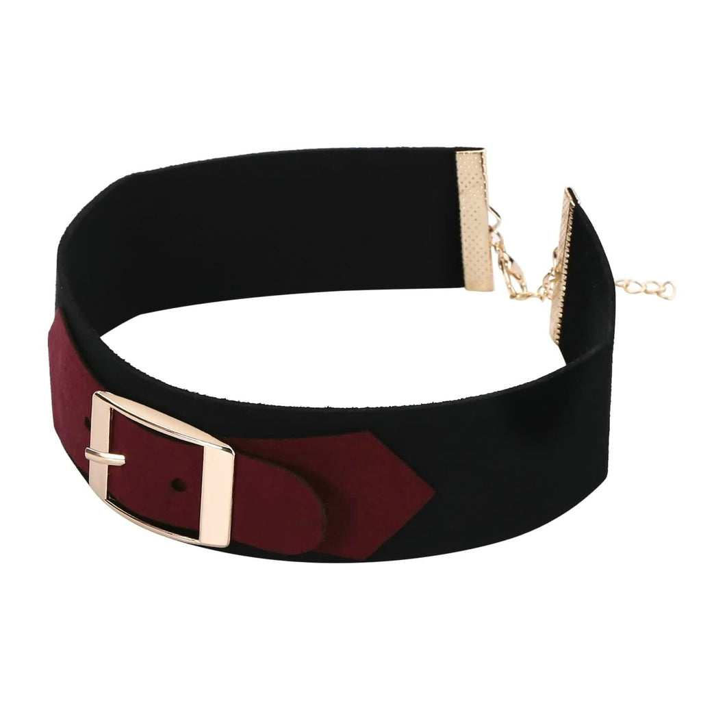 Choker Chain Lucky Layer Choker Leather Belt Buckle Velet Gold Wine Red Len 30+5CM - AnaDx