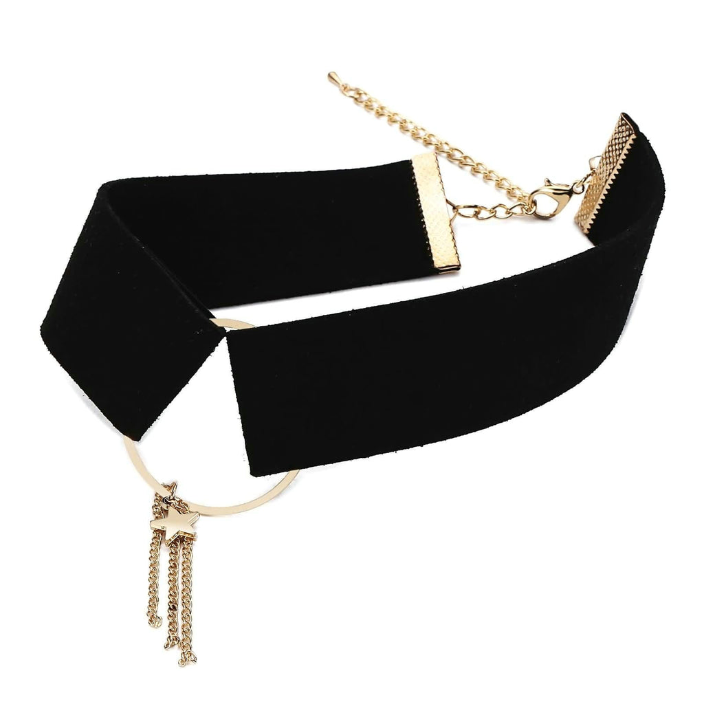 Chokers Necklaces Black Choker Chain Circle Star Tassel Velet Gold Black Len 32.1+8CM - AnaDx