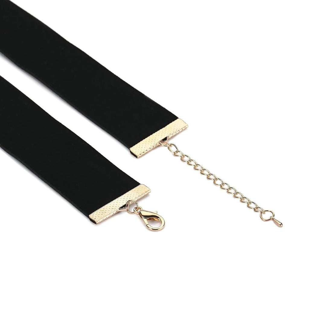 Chokers Chain Double Layer Chain Choker Cross Velet Gold Black Len 43+7CM - AnaDx
