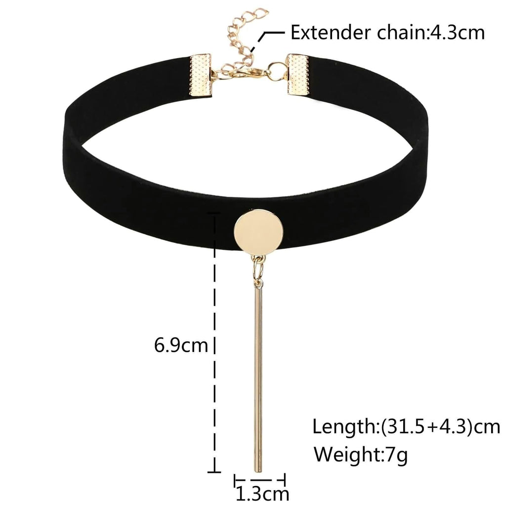 Womens Lace Choker Choker Necklace Chain Velvet Jewelry Black Gold Round Cylindrical 31.5+4.3CM - AnaDx