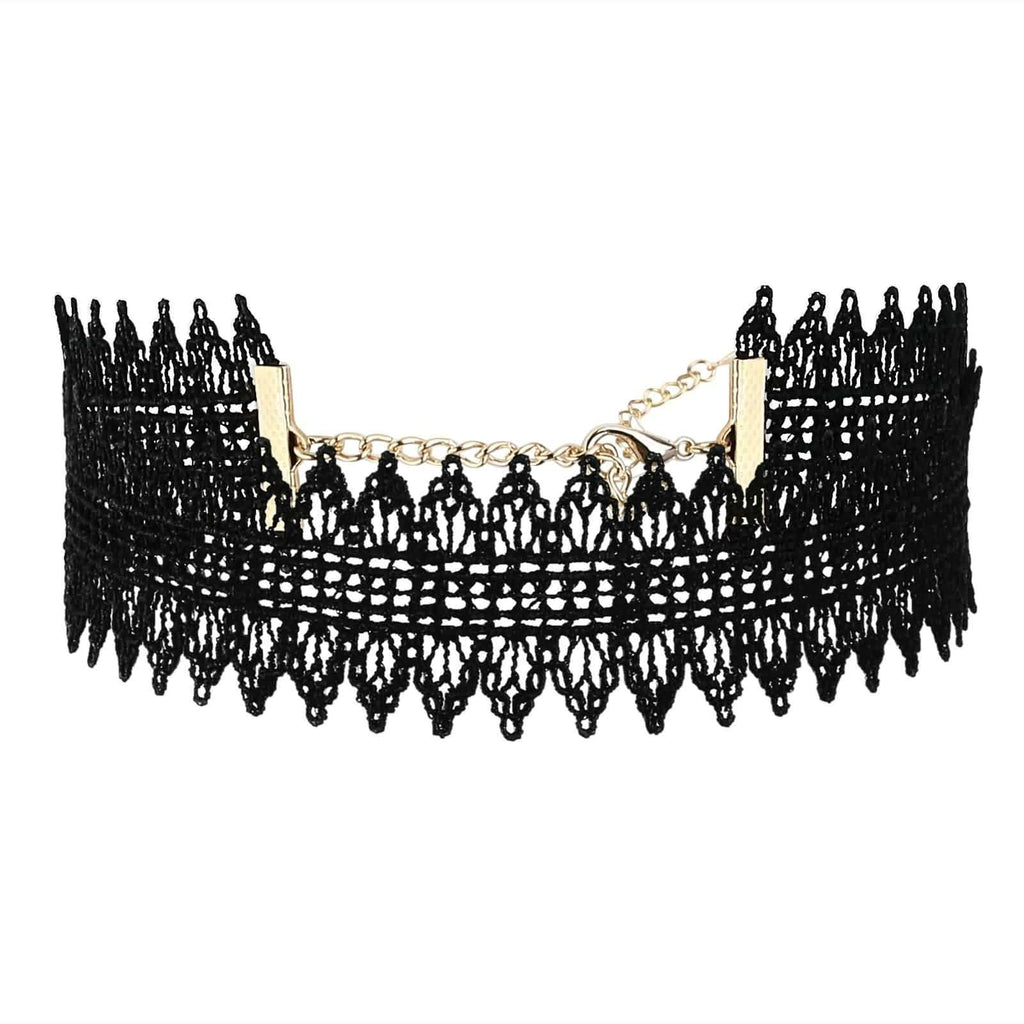 Choker Collar Womens Jewellery Choker Necklace Simple Lace Gold Black Len 31+8.5CM - AnaDx
