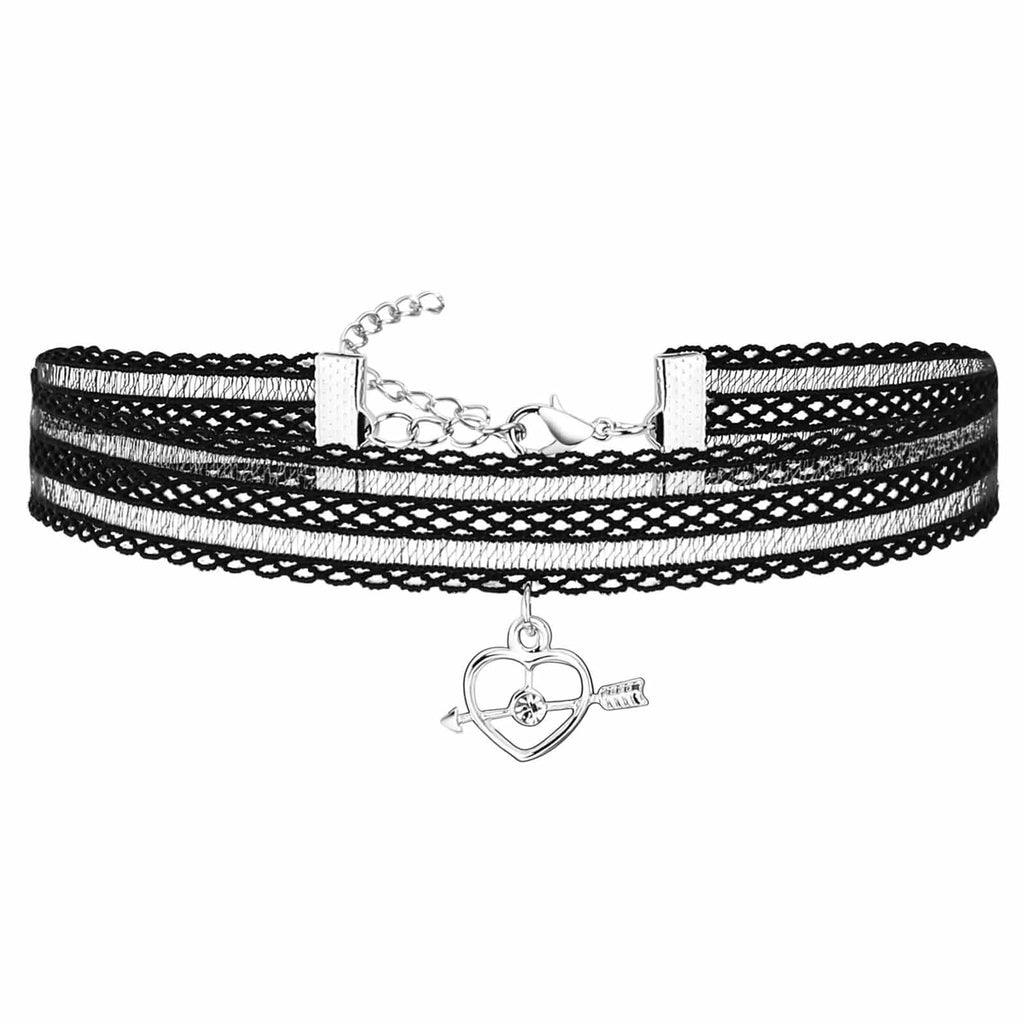Chokers Jewelry Womens Choker Collar HeartArrow Charm Silver Black Len 33.7+5.5CM - AnaDx