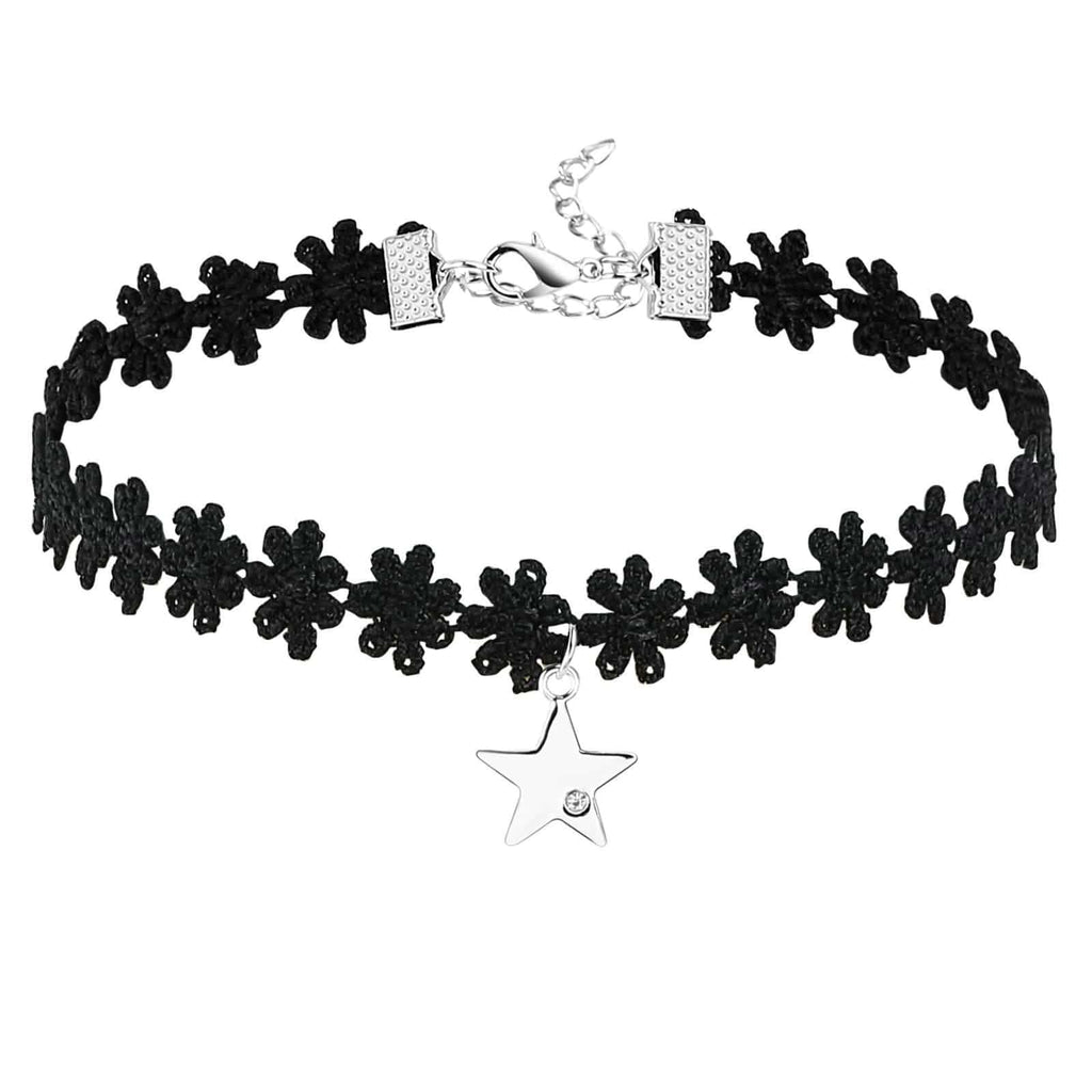 Chokers Cute Double Layer Chain Choker Star CZ Flower Lace Silver Black Len 34.3+8CM - AnaDx