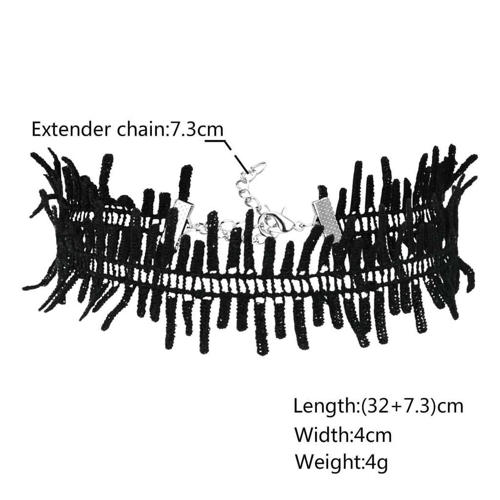 Choker Kit Lucky Layer Choker Lobster Buckle Strip Neckwear Silver Black Len 32+7.3CM - AnaDx