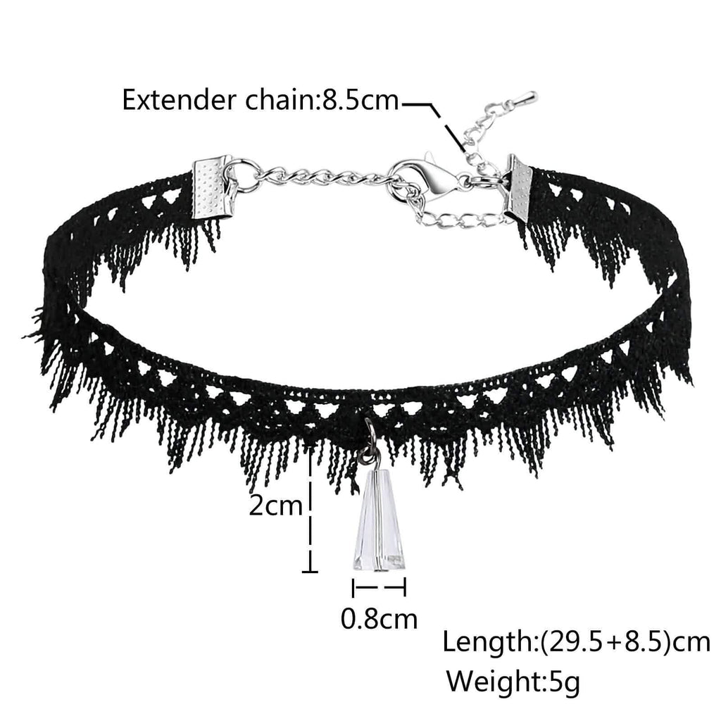 Choker Collar Double Layer Choker Necklace Lace Stretch Gothic Tattoo Cone White Black Len 29.5+8.5CM - AnaDx