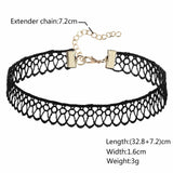 Chokers Jewelry 90S Black Choker Necklace Gorgeous Floral Lace Tattoo Gothic Black Len 32.8+7.2CM - AnaDx