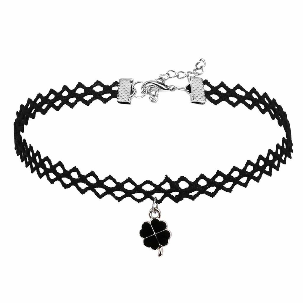 Womens Choker Top Womens Choker Necklace Lace Gothic Lucky Leaf Silver Black Len 32.8+5CM - AnaDx