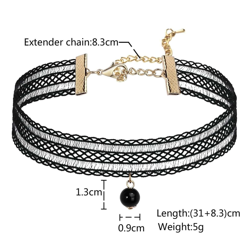 Chokers Necklaces Black Choker Velvet Lace Gothic Stretch Tattoo Classic Black Len 31+8.3CM - AnaDx