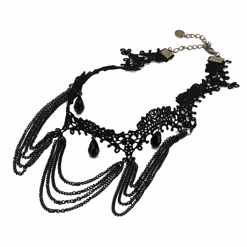 Chokers Chain Black Choker Necklace Lace Flower Heart Charm Black Len 31.5+8.5CM - AnaDx