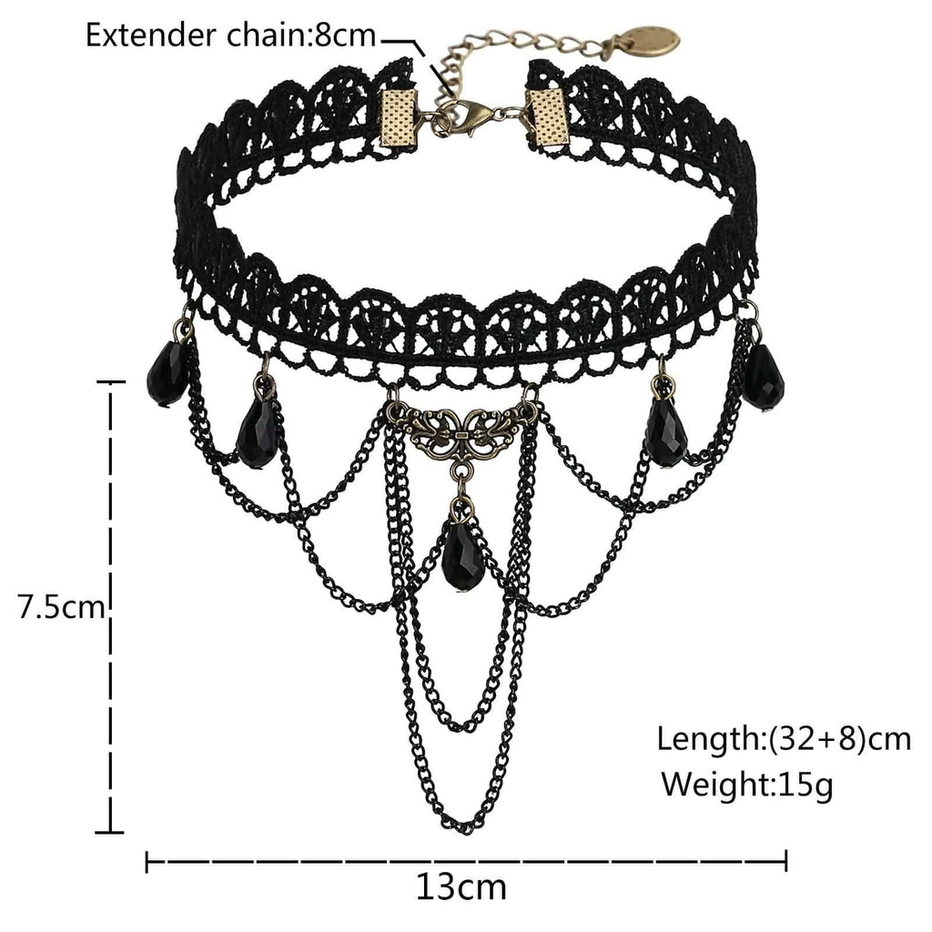 Chokers Beaded Gold Layered Choker Lace Flower Gothic Beads Gorgeous Black Len 32+8CM - AnaDx