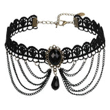 Chokers Necklaces Chokers and Charms Lace Punk Style Beads Tassels Gold Black Len 31.5+8.7CM - AnaDx