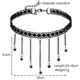 Choker Chain Choker Necklace Leather Leather Lace Round Cubic Zirconia Charms Gold Black Len 32+8CM - AnaDx
