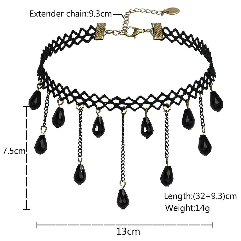 Choker Necklace Choker Necklace Chain Lace Braided Fabric Beads Tassel Black Len 32+9.3CM - AnaDx