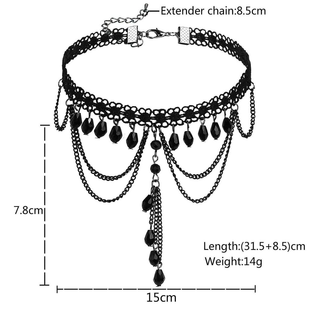 Womens Choker Top Black Choker Chain Lace Elegant Fabric Resin Bib Black Len 31.5+8.5CM - AnaDx